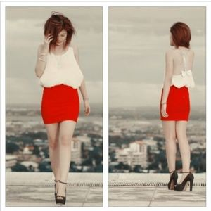 TOPSHOP Red Bandage Skirt with Zipper in Back